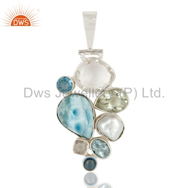Larimar, bt, crystal, amethyst and freshwater pearl 925 silver pendant