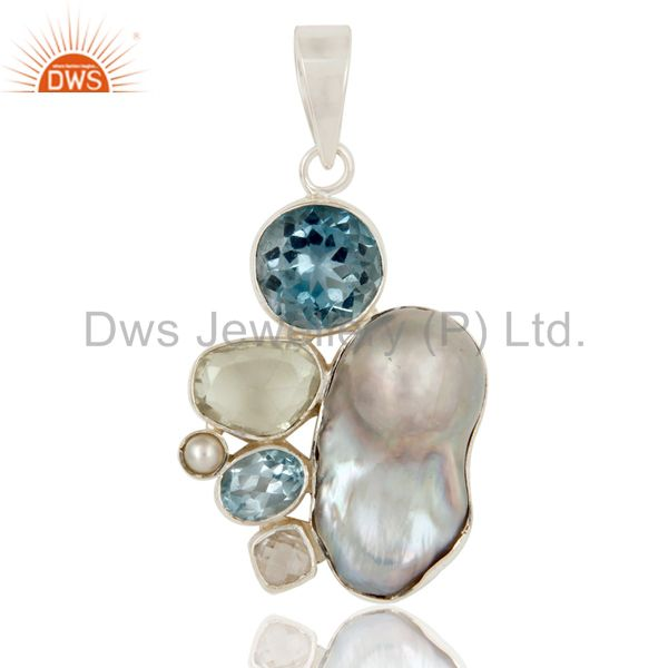 Boroque Pearl, Blue Topaz, Amethyst and Pearl Designer Sterling Silver Pendant