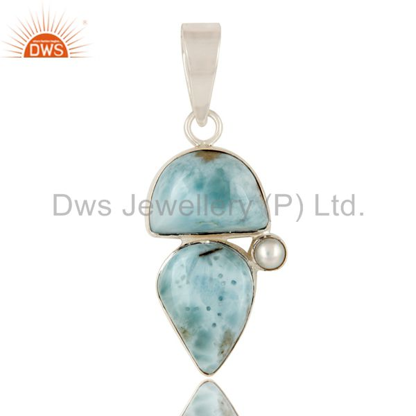 Larimar and Pearl Sterling Silver Handmade Pendant
