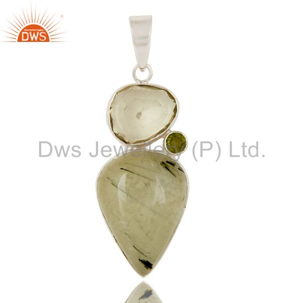 Prehnite, Lemon Topaz and Peridot Sterling Silver Gemstone Pendant