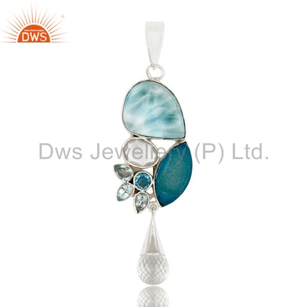 Larimar Multi Color 925 Sterling Silver Handmade Exclusive Pendant Jewelry
