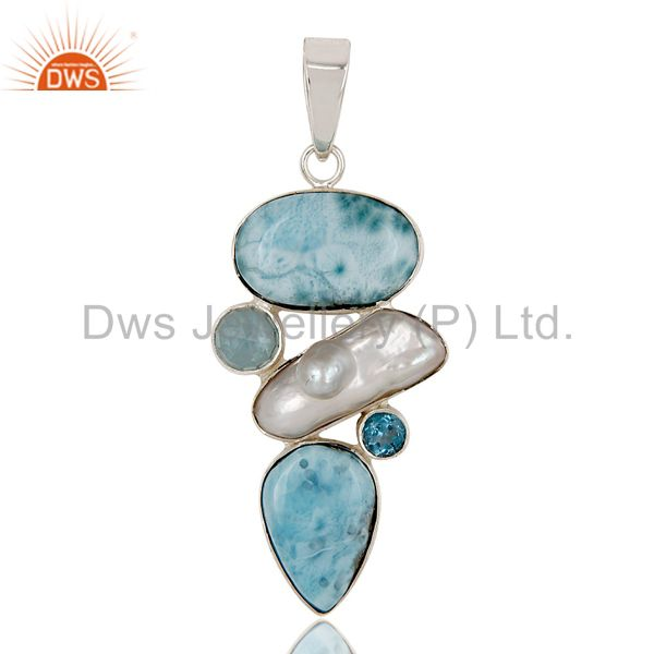 Larimar, Pearl & Blue Topaz 925 Sterling Silver Pendant