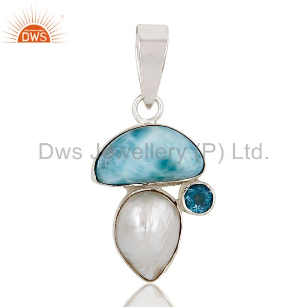 Larimar, Blue Topaz & Pearl 925 Sterling Silver Pendant