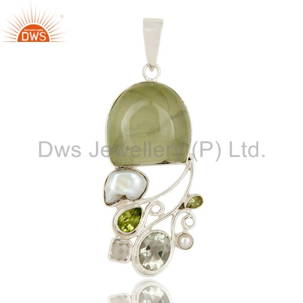 Prehnite, Peridot, Pearl and Green Amethyst Sterling Silver Pendant