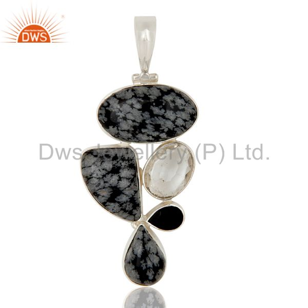 Snowflake Obsidian, Black Onyx and Crystal Sterling Silver Gemstone Pendant