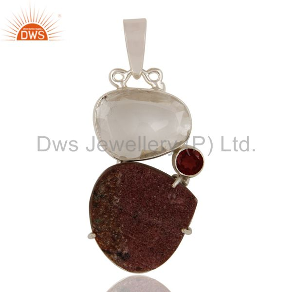 Cobalto Calsite, Garnet and Crystal Sterling Silver Handmade Pendant