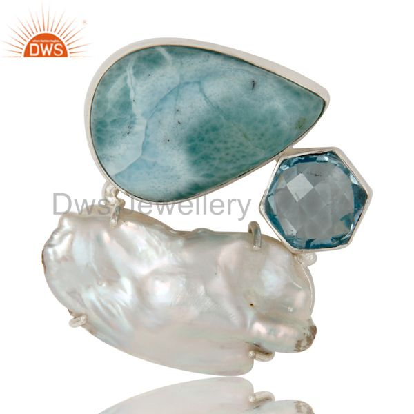 Larimar, fresh water pearl and blue topaz sterling silver enhancer pendant