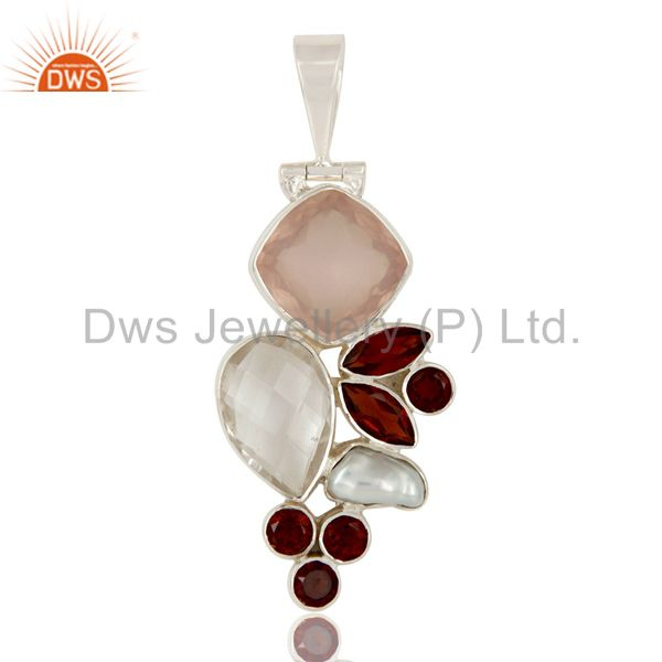 Rose Quartz, Garnet, Crystal and Fresh Water Pearl Sterling Silver Pendant