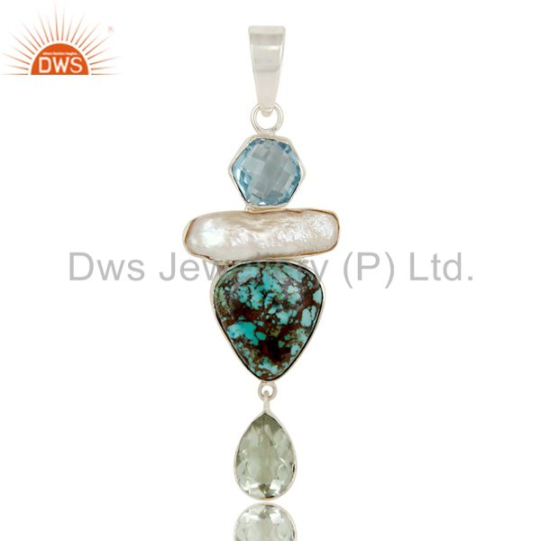 Boulder Turquoise, Prasiolite, BT and Pearl Handmade Sollid 925 Silver Pendant