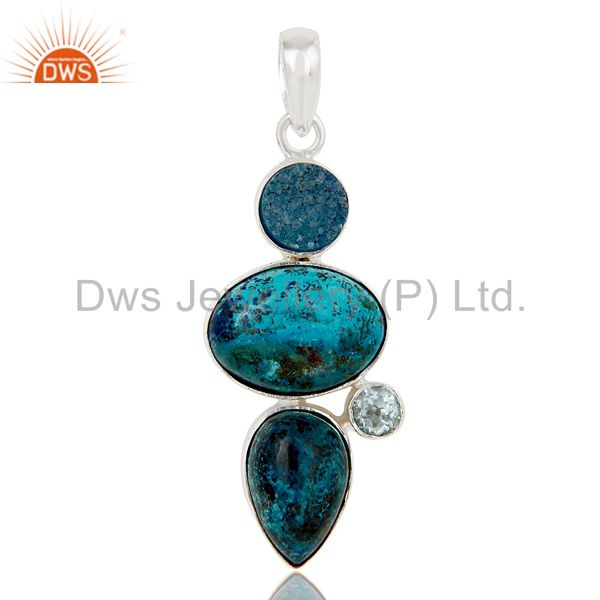 Blue Topaz, Crysocola & Natural Druzy Handmade Sollid Sterling Silver Pendant