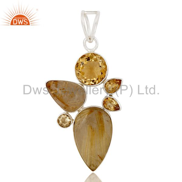 Citrine And Rutile Quartz 925 Sterling Silver Designer Pendant