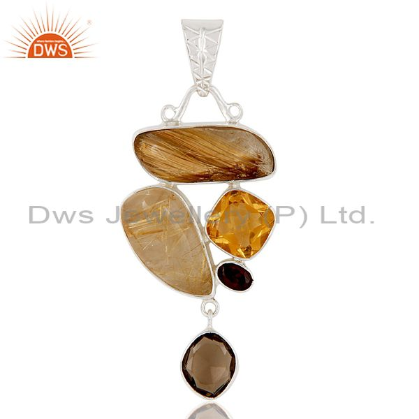 Citrine And Garnet And Golden Rutile And Smokey Topaz Sterling Silver Pendant