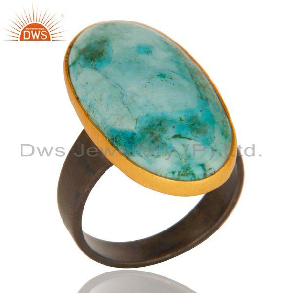 18k gold plated & black oxidized 925 sterling silver natural turquoise ring