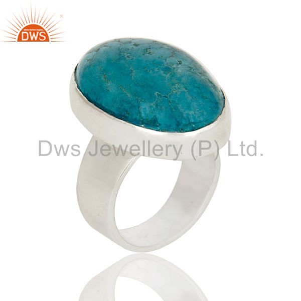 Natural Turquoise Gemstone Bezel Set Statement Ring Made In 925 Sterling Silver