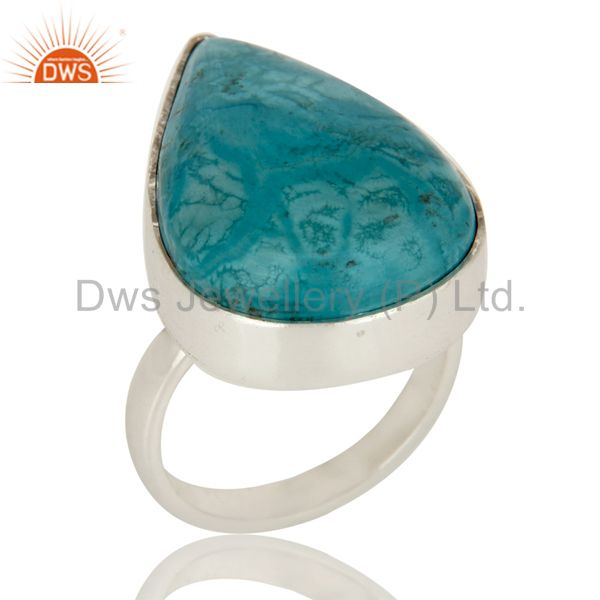 Natural Turquoise Gemstone Bezel Set Handmade Sterling Silver Ring