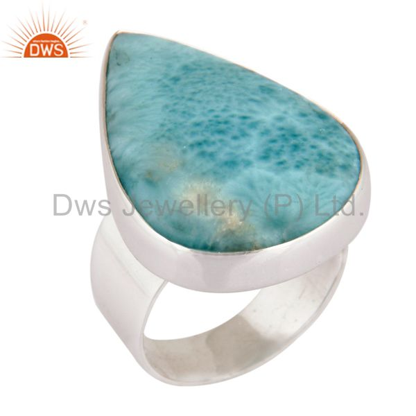 Natural Larimar Gemstone Solid 925 Sterling Silver Handmade Ring Size US 6