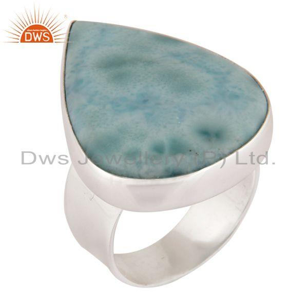 Handmade 925 Sterling Silver Natural Larimar Bezel Set Gemstone Ring
