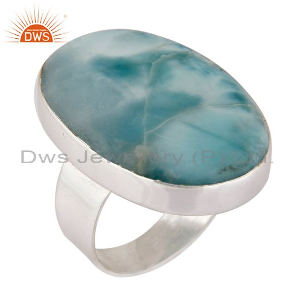 Unique Handmade 925 Sterling Silver Larimar Gemstone Bezel Set Ring Jewelry