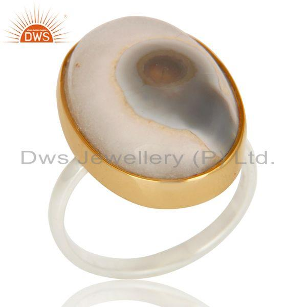 18K Yellow Gold Plated 925 Sterling Silver Handmade Solar Ice Unique Piece Ring