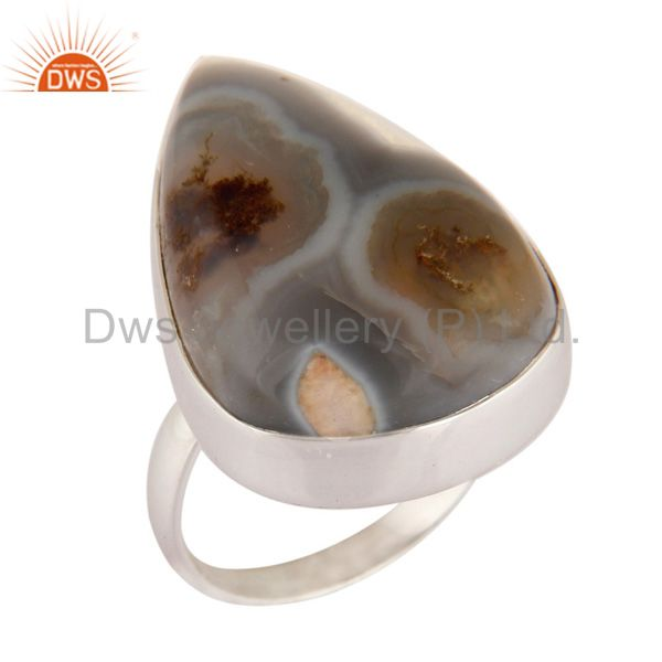 Natural Solar Quartz Gemstone Ring Solid 925 Sterling Silver Jewelry Size US 7