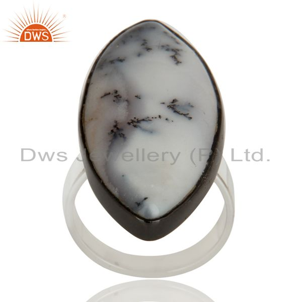 Black Oxidized Solid 925 Sterling Silver Dendritic Opal Unique Statement Ring