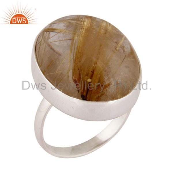925 Sterling Silver Natural Rutilated Quartz Gemstone Handmade Ring