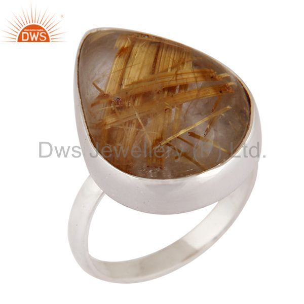 Genuine Golden Rutilated Quartz Gemstone 925 Sterling Silver Ring