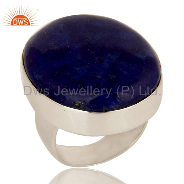 Handmade Sterling Silver Natural Lapis Lazuli Gemstone Bezel Set Cocktail Ring