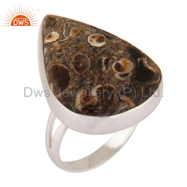 Handmade 925 Sterling Silver Turritella Agate Gemstone Bezel Set Ring Size 8