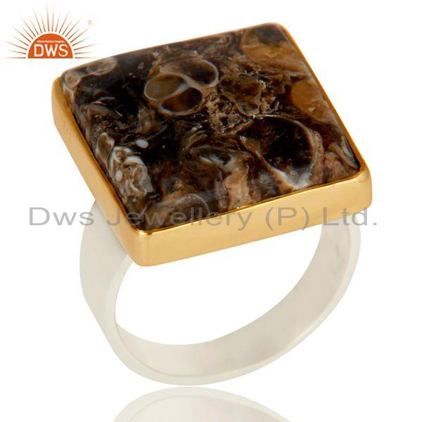 18K Gold Plated Solid 925 Sterling Silver Turitella Agate Unique Ring Jewellery