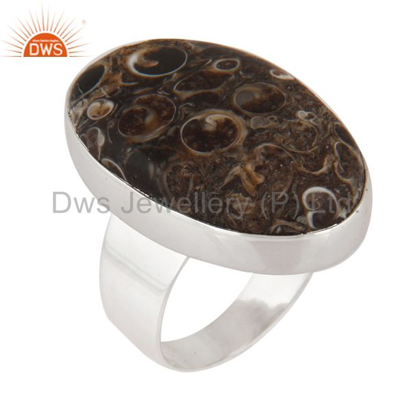 Natural Turritella Agate Gemstone Handmade Ring Made in 925 Sterling Silver