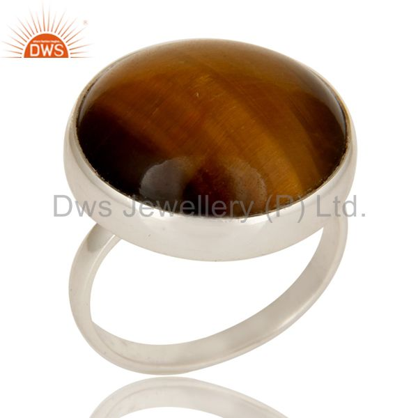 Handmade 925 Sterling Silver Natural Tiger Eye Gemstone Cocktail Ring