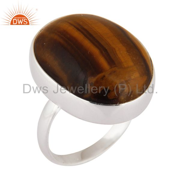Natural Tiger Eye Semi Precious Stone 925 Serling Silver Designer Ring