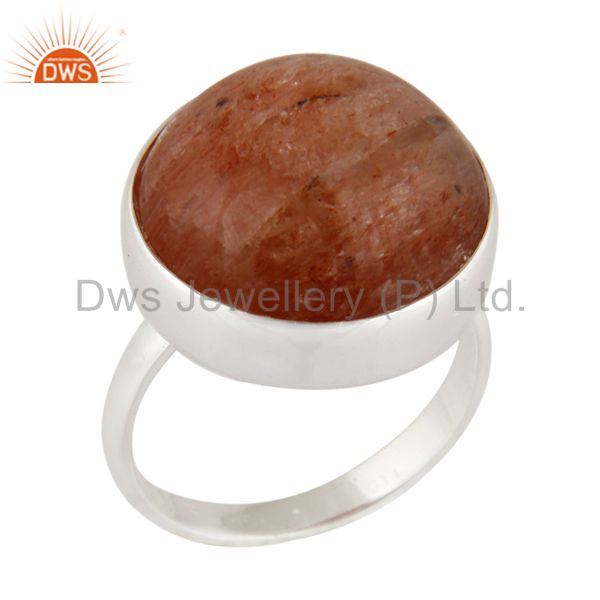 Natural Sunstone Gemstone Round Bezel Set 925 Sterling Silver Ring Size 6 US