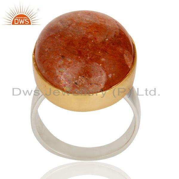 18K Gold Plated Solid 925 Sterling Silver Natural Sun Stone Unique Ring