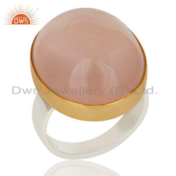 18K Gold Plated Solid 925 Sterling Silver Natural Rose Quartz Gemstone Ring