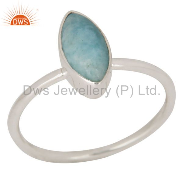 Natural Larimar Gemstone Solid Sterling Silver Stacking Ring