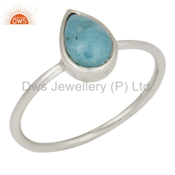 Handmade 925 Sterling Silver Natural Larimar Gemstone Stacking Ring