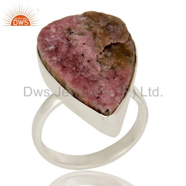 Cobalto Druzy Bezel Set Statement Ring Made In Solid Sterling Silver
