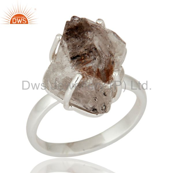 Handmade 925 Sterling Silver Herkimer Diamond Prong Set Ring For Women