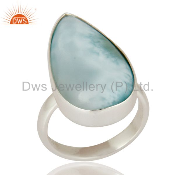 Solid 925 Sterling Silver Natural Larimar Gemstone Handmade Ring
