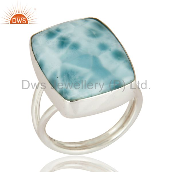 Genuine Larimar Gemstone Bezel-Set Solid 925 Sterling Silver Ring