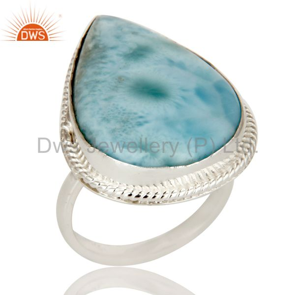Domenican Republican Larimar Bezel Set Solid Sterling Silver Ring Handmade Ring