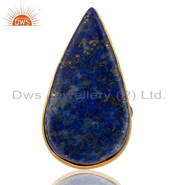 18K Gold Plated & Black Oxidized 925 Sterling Silver Natural Lapis Lazuli Ring