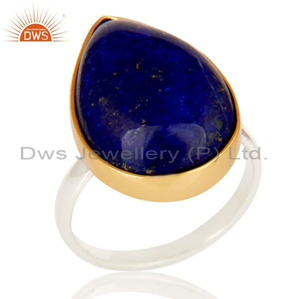 18K Gold 925 Sterling Silver Plated Handmade Natural Lapis Lazuli Gemstone Ring