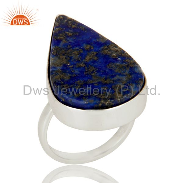 Handmade 925 Sterling Silver Lapis Lazuli Gemstone Bezel Set Statement Ring
