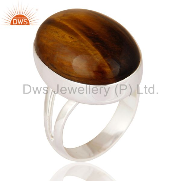 Handmade Tiger Eye Gemstone Solid 925 Sterling Silver Ring Size 7 US