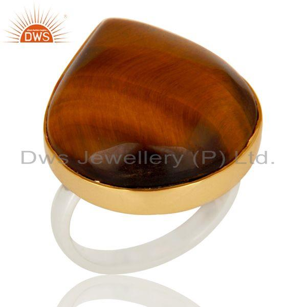 Natural Tiger Eye Gemstone Ring Artisan 18K Gold Plated Solid Sterling Silver
