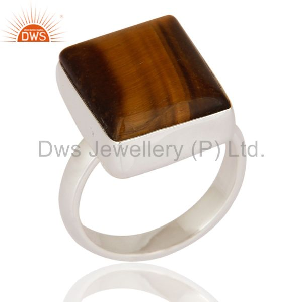 Handcrafted Artisan 925 Sterling Silver Bezel-Set Tiger Eye Gemstone Ring