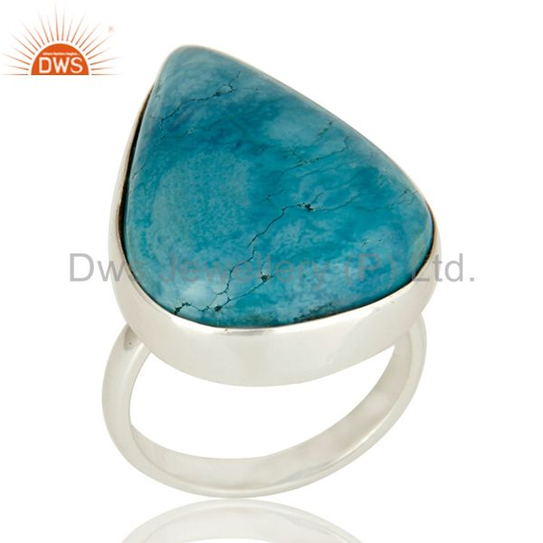 Handmade Genuine Sterling Silver Natural Turquoise Bezel Set Ring